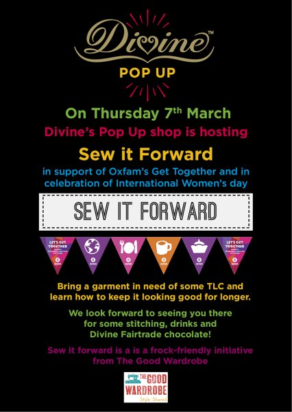 Flyer for the Sew It Forward evening at Divine Chocolate's pop-up shop in Covent Garden on 7th March
