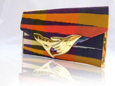 'Friendship' hand-woven Saori clutch with an upcycled bullet clasp, US$110, by Emi & Eve