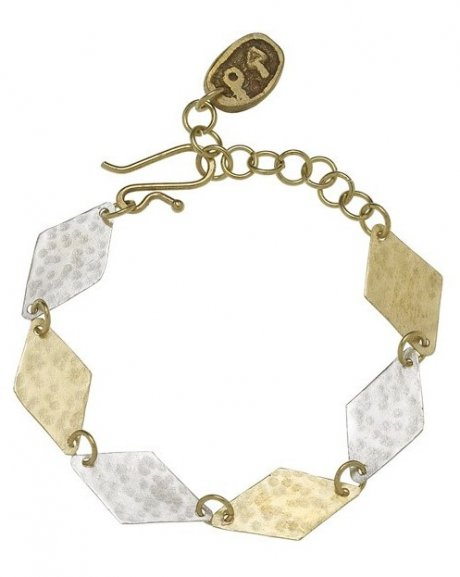Geometric diamond bracelet, hand crafted in Bombolulu from brass and silver plate, £24 by ethical fashion brand People Tree