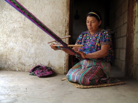 Maya Woman Weaving on a Traditional Back-strap Loom