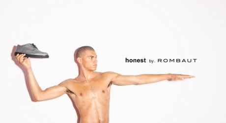 Rombaut for Honest by, an exclusive unisex capsule collection of shoes combining tree bark, natural rubber sole, cotton lining, potato starched cotton shoe laces to make a vegan shoe.