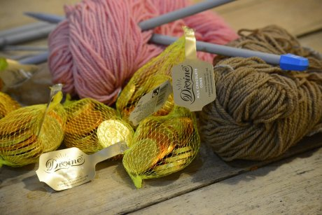Divine Fairtrade Chocolate with needles from Rowan and naturally dyed wool from Greenfibres at Sew It Forward in The Railway Pub, Streatham