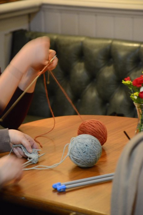Knitting in action at Sew It Forward in The Railway pub, Streatham