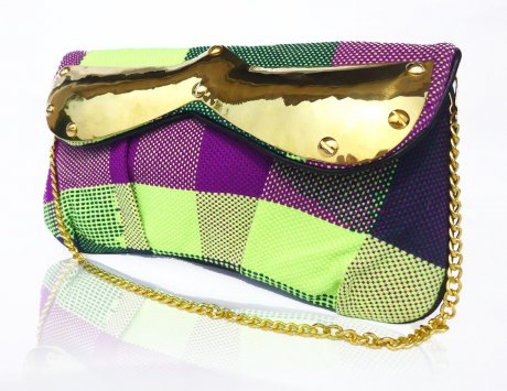 'Justine' hand-woven Saori clutch with a recycled bullet clasp, US$110 by Emi & Eve