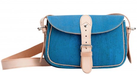 Mini 'Stroll Satchel' in sky combines dyed cork with leather trimmings, €135 by Pelcor – available online