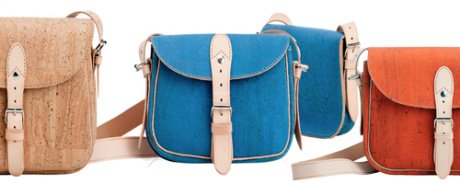 Pelcor's 'Stroll Satchel' – a modern version of the Portuguese postman's satchel – standard or mini, each available in three colours – natural cork, sky and sunset