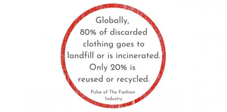 Globally, only 20% of discarded clothing is reused or recycled, the rest goes to landfill or is incinerated, Pulse of the Fashion Industry