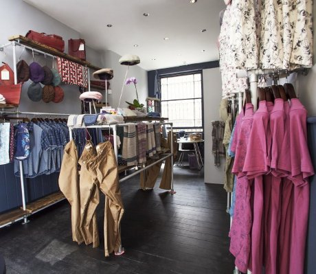 Interior of Cock & Bull & Co sustainable menswear boutique in East London