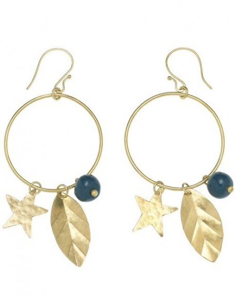 Star Charm Earrings, hand crafted in Bombolulu from brass and ceramic beads, £22 by ethical fashion brand People Tree
