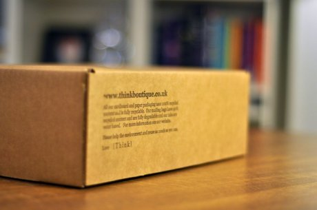 No fuss recycled cardboard packaging from online retailer Think Boutique